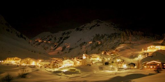 The majestic village of Stuben in the night with all the lights on.