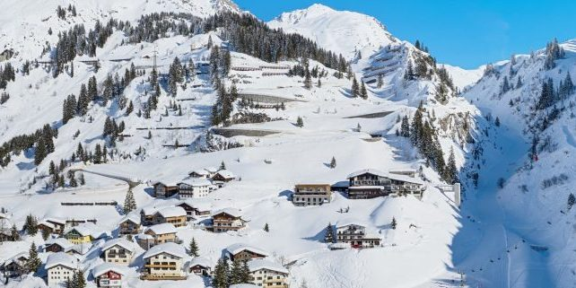 A lovely view of the snowy winter village of Stuben.